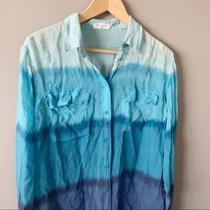 Equipment Tops - Equipment blue ombré silk blouse size small